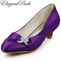 2014 New Arrival EP2006L Round Toe Rhinestone Shallow 1 5 Cone Heel Satin Women Wedding Shoes