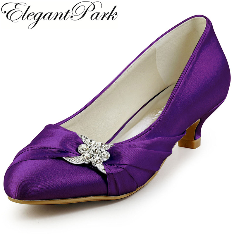 цена на Women Shoes Wedding Bridal Low Heel Purple White Ivory Closed Toe Crystal Comfort Satin Female Lady Prom Pumps Silver EP2006L