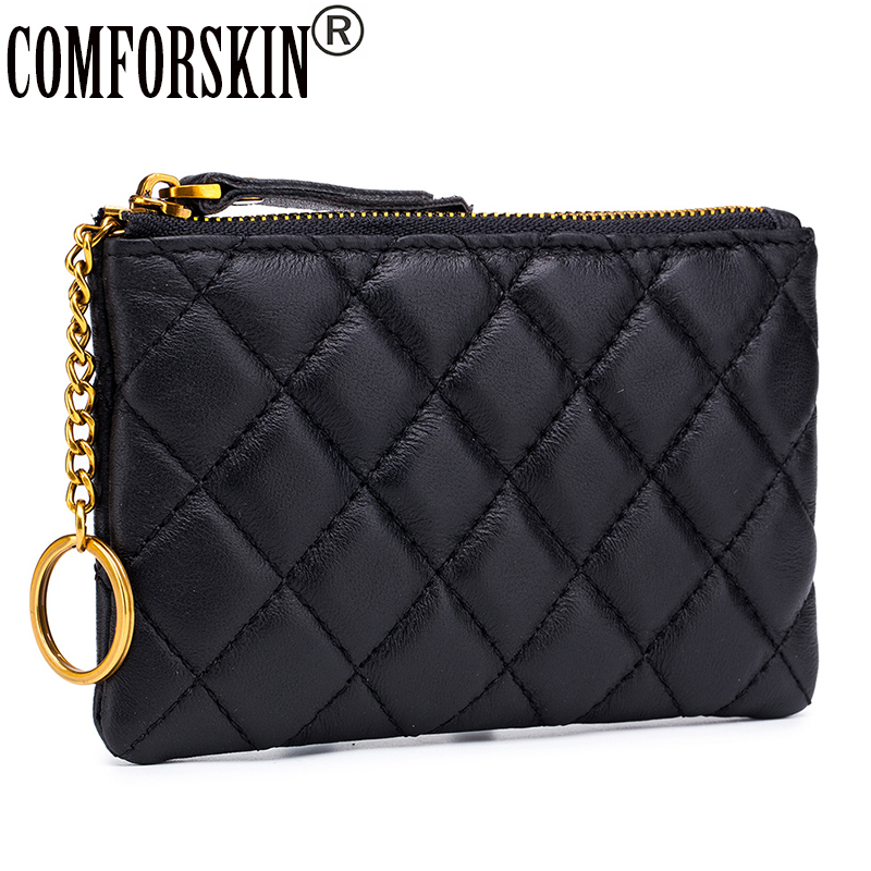 COMFORSKIN Guaranteed 100% Sheep Skin Plaid Zipper Purse European And American Card Wallets Hot Brand Multi-function Coin Purses