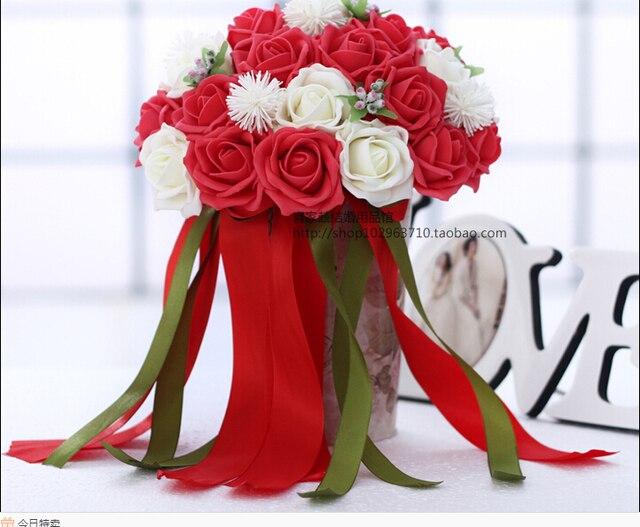 2017 30 Шт. Цветы Дешевые Романтический Белый и Красный Люкс Для Невесты Ручной Работы Искусственный Вырос Свадебные/Невесты Букеты