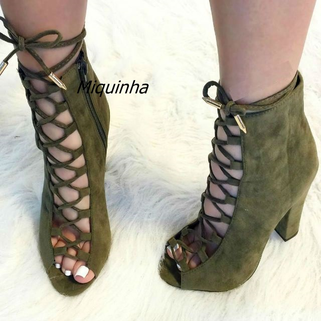 7d4ad07cd241b Fancy Cross Strap Peep Toe Block Heel Dress Shoes Pretty Women Olive Suede  Cut-out