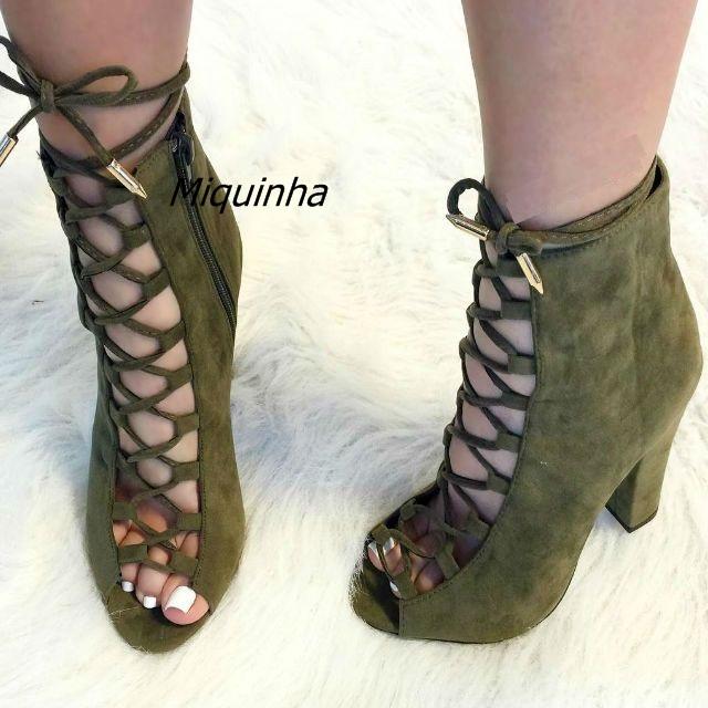 18dff51cbba US $77.2 |Fancy Cross Strap Peep Toe Block Heel Dress Shoes Pretty Women  Olive Suede Cut out Lace Up High Heels Classy Chunky Heel Pumps-in Women's  ...