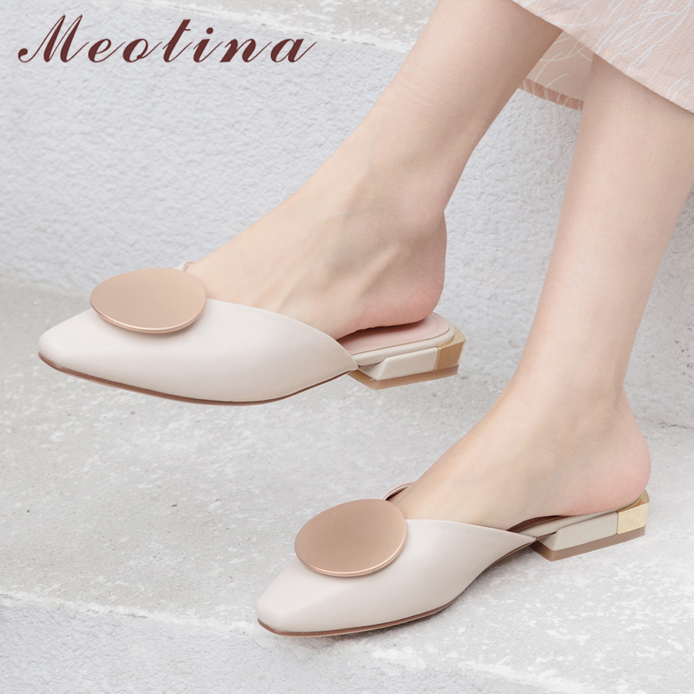 Meotina Summer Mules Shoes Women Slides Natural Genuine Leather Flat Shoes Cow Leather Square Toe Slippers Ladies New Size 34-40