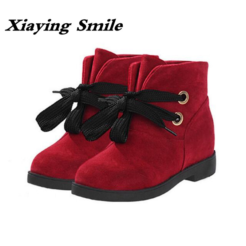 Xiaying Smile Winter Women Short Ankle Boots Lace up Flats Fashion Casual Solid Shoes Warm Round Toe Plush Antiskid Rubber Boots round toe fur women snow boots lace up short booties fashion flats korea stylish winter warm shoes ankle boots luxury brand shoe