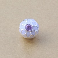 ZMZY NEW Blooming Dahlia Clip Bead With Cream Enamel And Blush Pink Cz 925 Sterling Silver