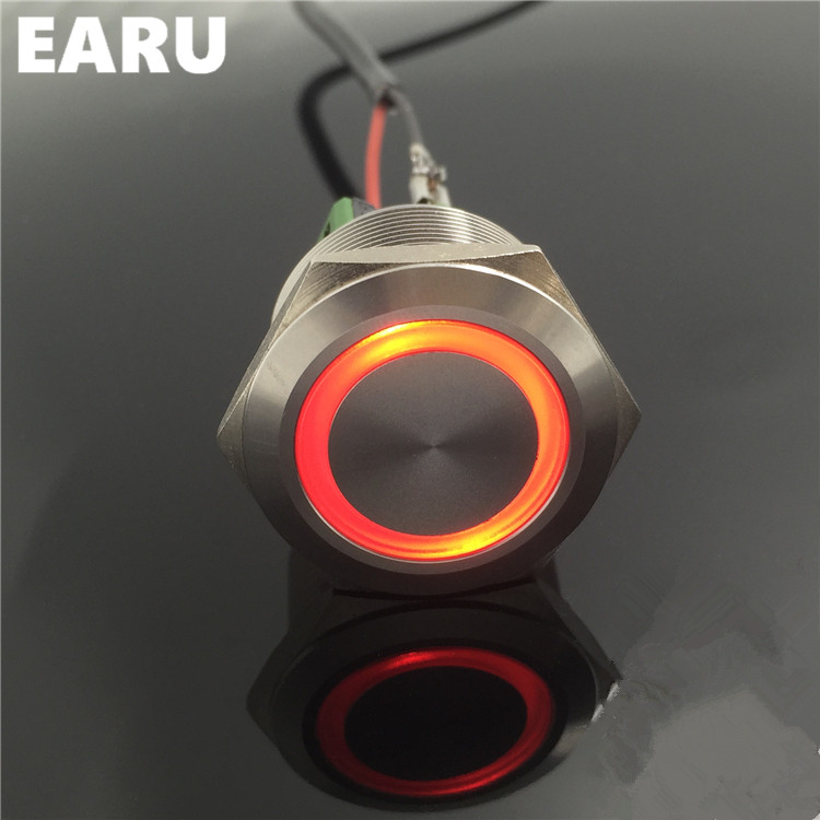 1NO 1NC 25mm Metal Stainless Steel Waterproof Latching Doorebll Bell Horn LED Push Button Switch Car Auto Engine Start PC Power