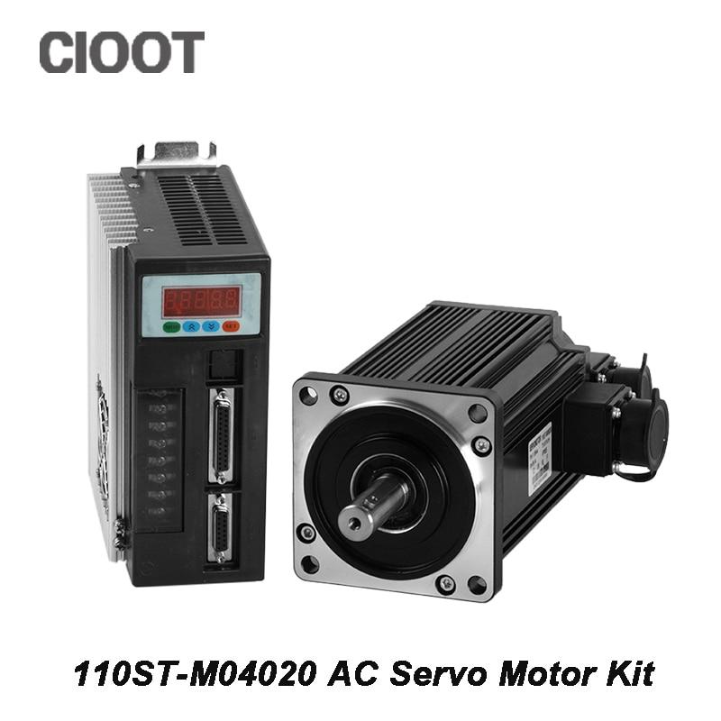 Brand New Servo System Kit 110ST AC Servo Motor 0.8KW CNC 110ST-M04020 + Matched Servo Driver + Motor Cable