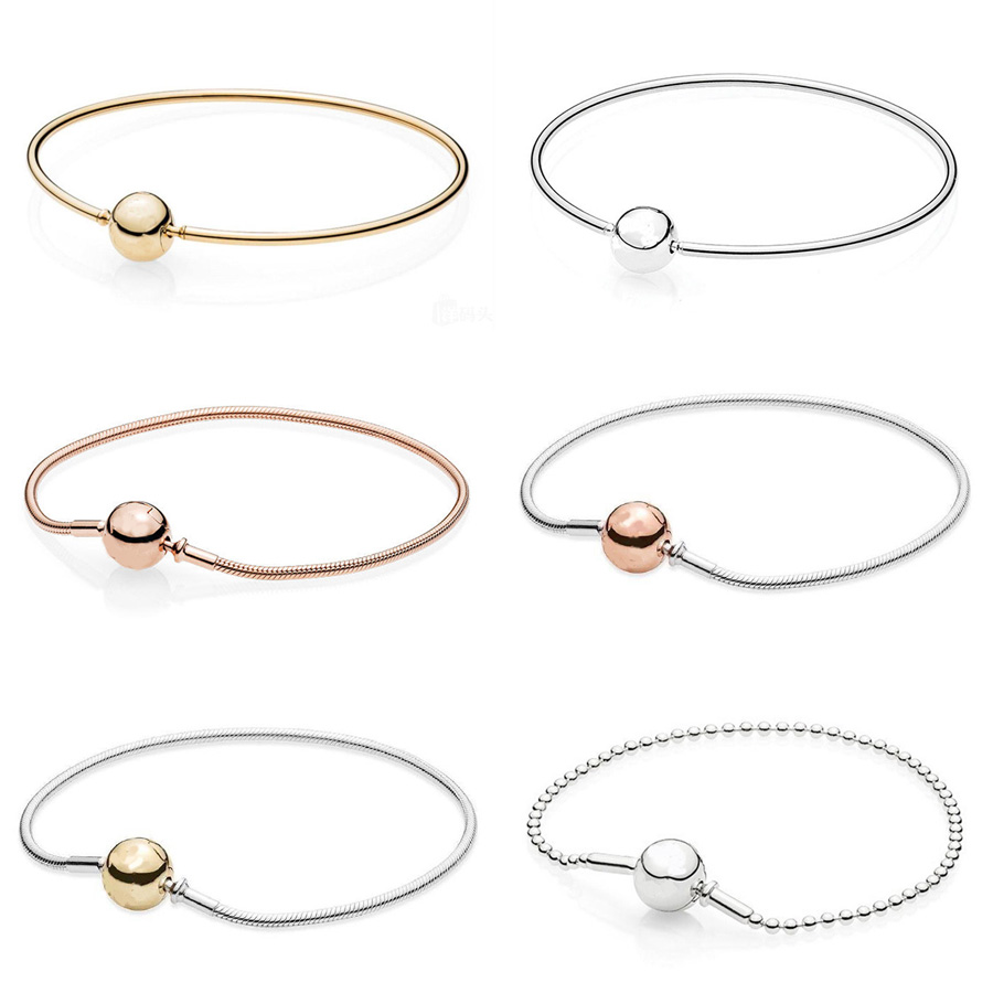Rose Gold Ball Clasp ESSENCE COLLECTION Beaded Bracelet Fit Pandora Snake Chain Bracelet Bangle 925 Sterling Silver Bead Charm leaf shaped beaded detail chain bangle anklet