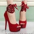 2017 nova boca de peixe sapatos de salto alto boate number grosso com impermeável sapatos de casamento vermelho mulheres maré lace-ups bombas sandálias