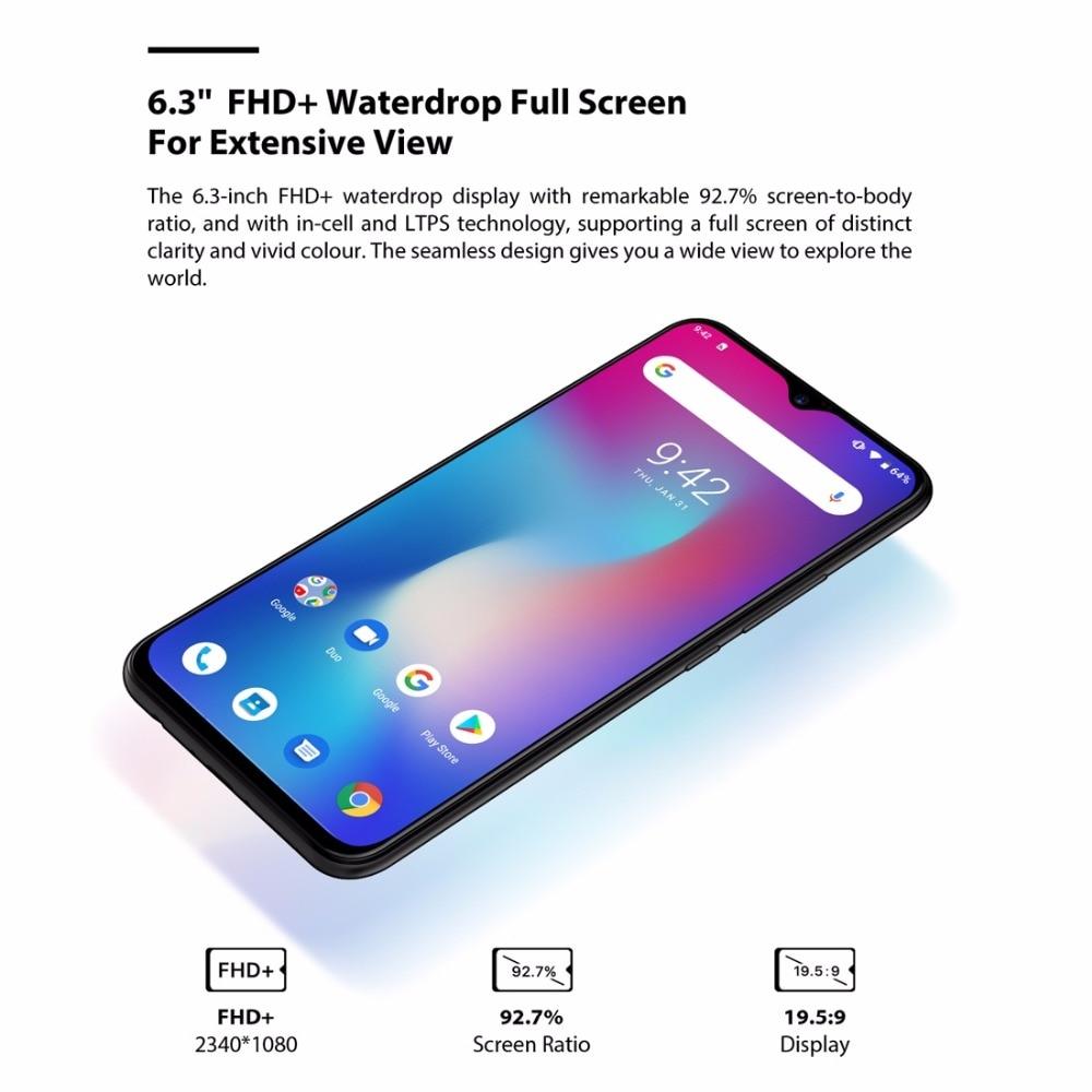 UMIDIGI Power Android 9.0 5150mAh Big Battery 18W 6.3' FHD+ Waterdrop Screen 4GB+64GB Helio P35 Global Version Smartphone 16MP