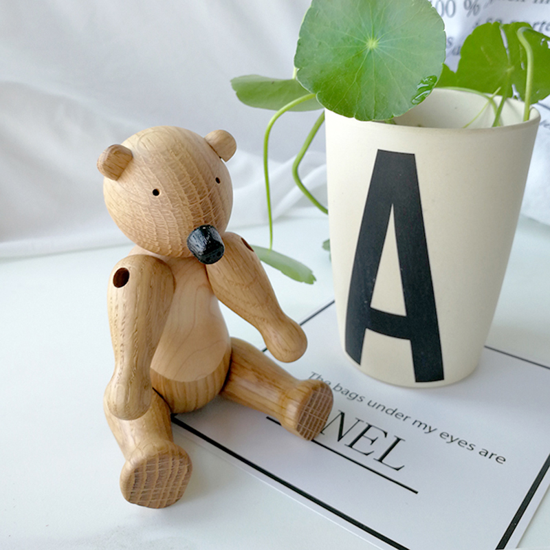 The Danish wood bear ornaments wood puppets Home Furnishing jewelry carved Nordic style Home Decor