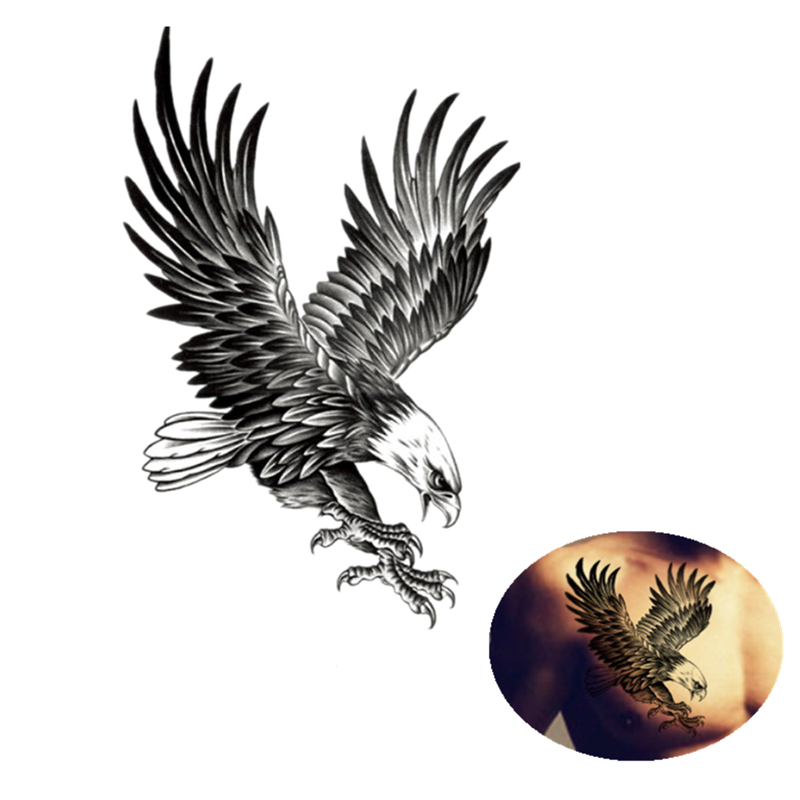 1Pc Eagle Waterproof Temporary Tattoo Sticke Body Art Arm Shoulder Chest Tattoo Sticker For Women/Men Transfer Tattoos Stickers