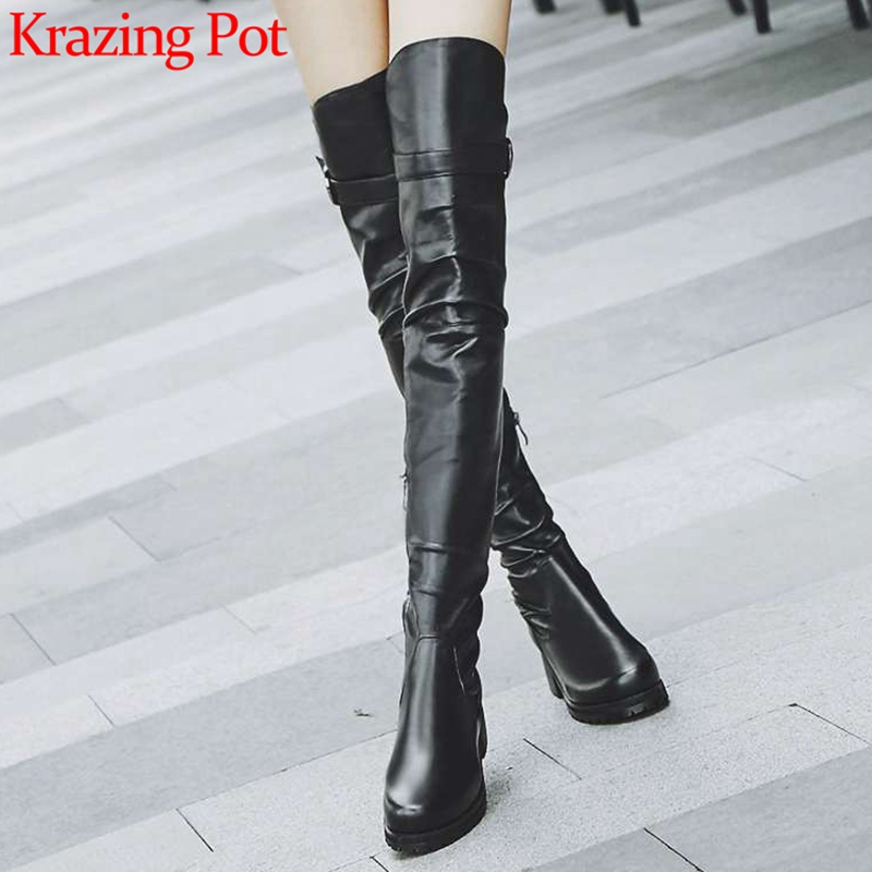 2018 superstars round toe med heels natural leather thigh high boots zip streetwear high fashion winter over-the-knee boots L04 сандалии для мальчика kapika цвет синий 10147 1 размер 19