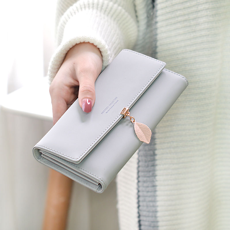 2019 New Women wallet Handbag Leaf design Long Wallet Student Multi-function Large Capacity