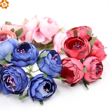 6Pcs Artificial Roses DIY Flowers Fake Rose Scrapbooking flowers Bouquet for Party wedding Craft Supplies Decorative