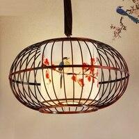 Китайский стиль железная клетка подвесные светильники коридор балкон креативная ручная роспись ткань птица pensant лампы ZA9157