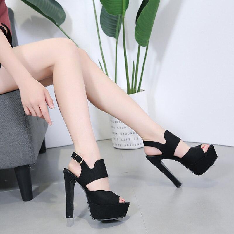 European American fashion women's sandals summer new women's shoes vintage thick heels Korean version of high heels women