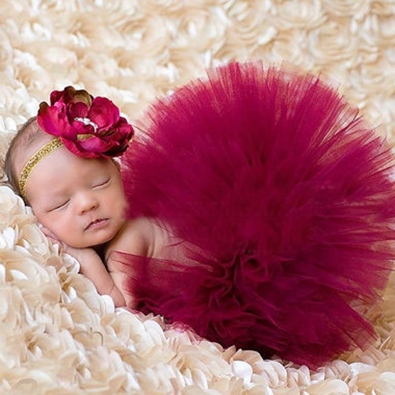 Nueva Venta Caliente Traje de Traje de Recién Nacido Bebé Niñas Apoyos de la Fotografía Princesa Moda Tutu Falda A Juego Diadema TS017