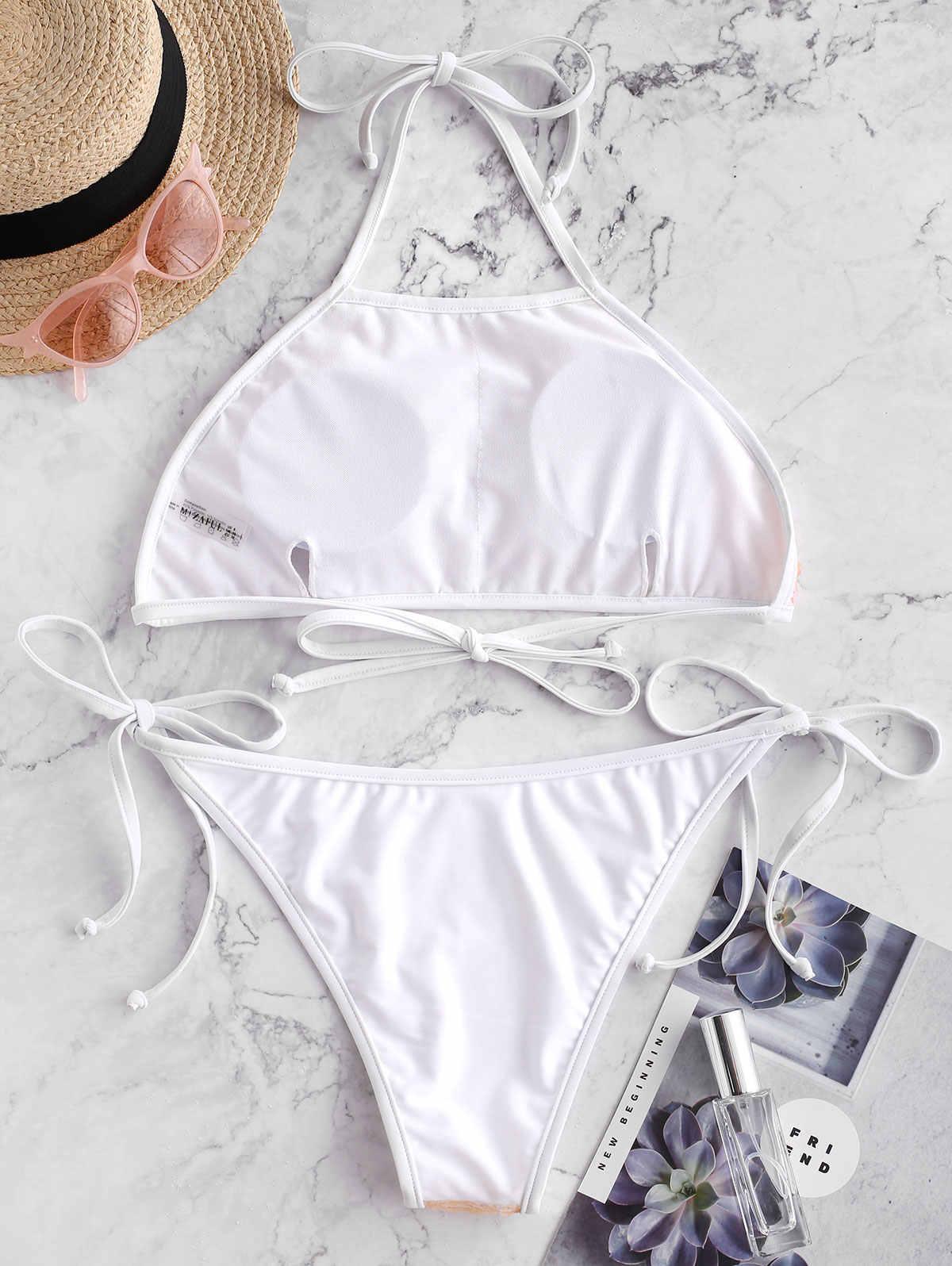 ZAFUL Sexy stroje kąpielowe strój kąpielowy Self-Tie cekinami Halter Bikini Set kostium plażowy niskiej talii wyściełane kobiety stroje kąpielowe plażowe garnitur 219