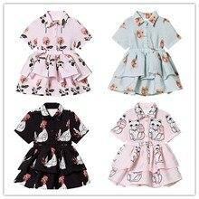 2019 INS HOT BABY GIRL CLOTHES GIRLS ROSE PATTERN KIDS DRESSES FOR VESTIDOS BOHO TODDLER