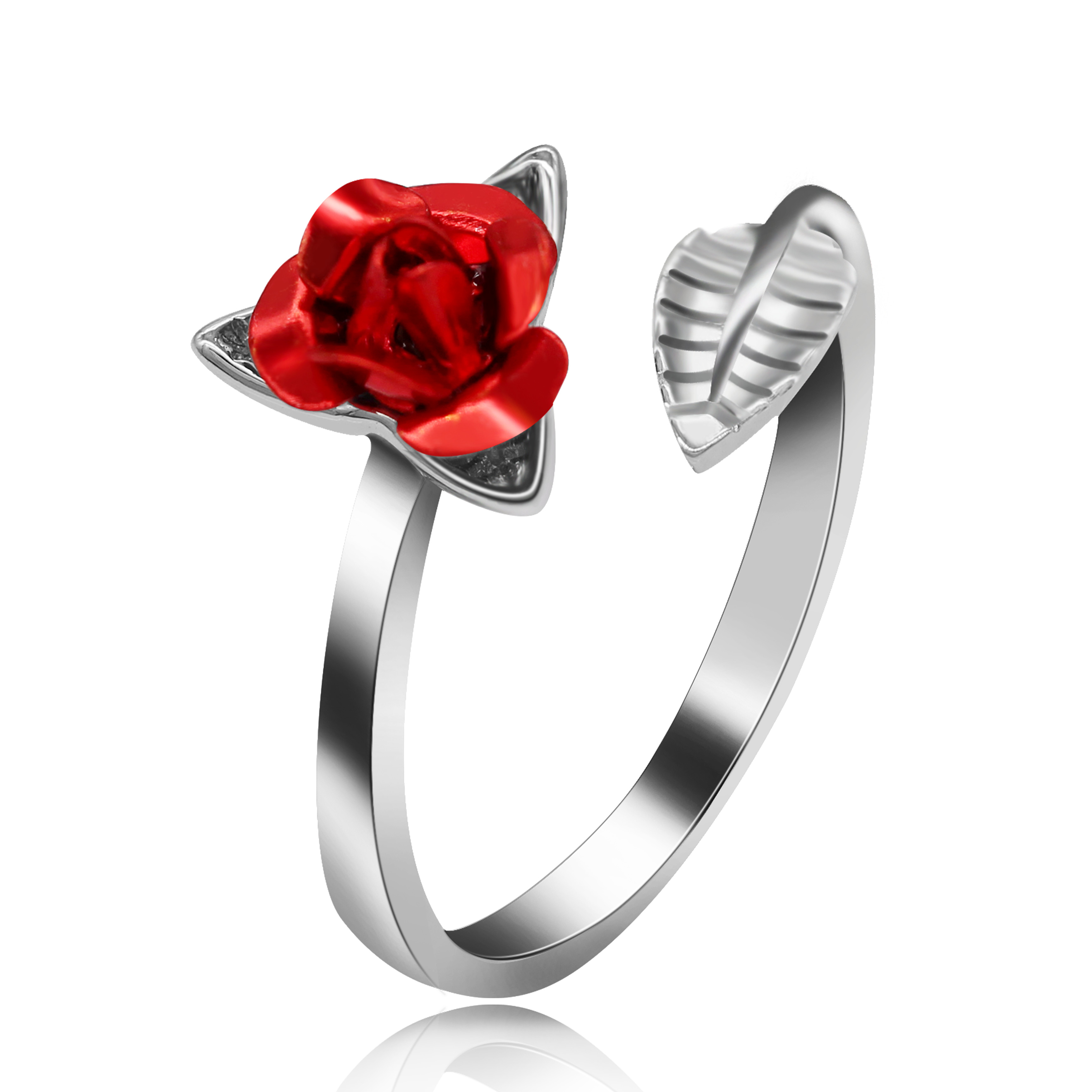 USPS Dropship Platinum Plated Women's Rose Flower Open Ring, Engagement Jewlery for Lady, Y531 Y534 Y535(China)