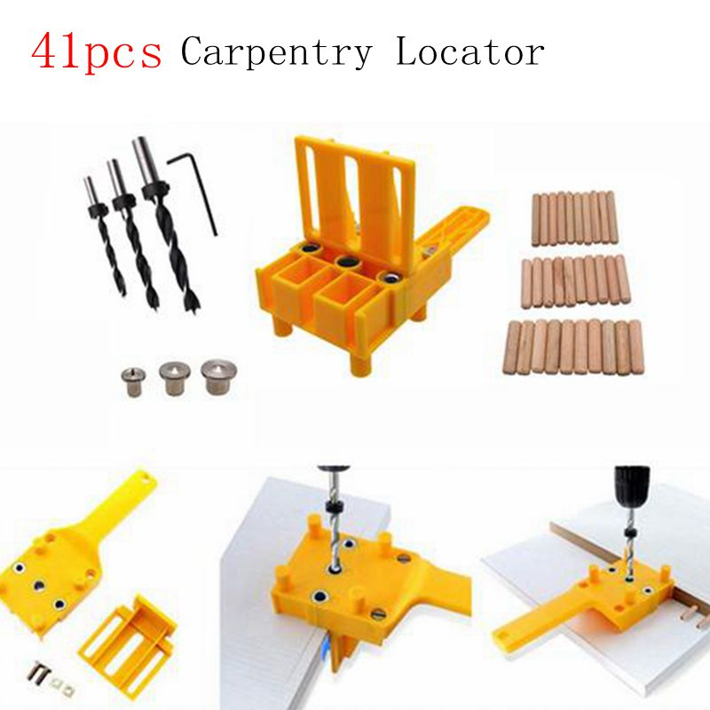 41Pcs Woodworking Dowel Jig Set Wood Dowel Pins With 6 8 10mm Drill Bits Drill Guide Kit For Joinery Doweling Jig Hole Saw Tools