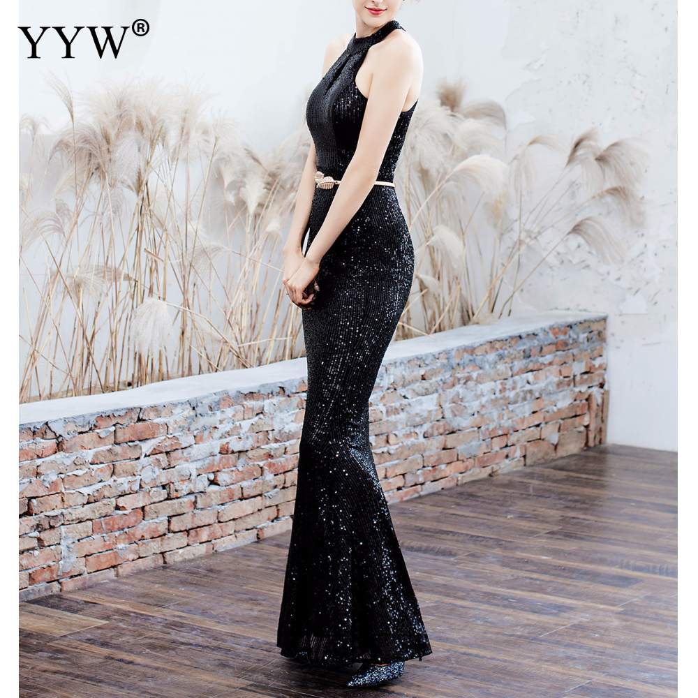 Elegant Sequined Halter Sleeveless Mermaid Long Evening Dress 8