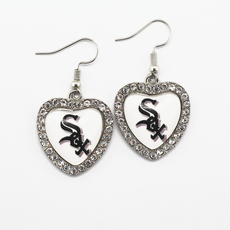 New Style 6pairs/lot Glass Heart Chicago White Sox Baseball Sports Earring For Women Silver Earring Charms Jewelry