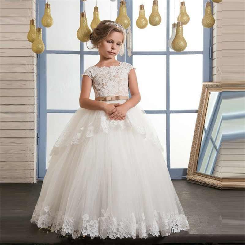 Marque Nouvelle Fleur Fille Robes pour le Mariage robe de Bal Première Communion Robes avec Appliques Parti Pageant Petites Filles Robe