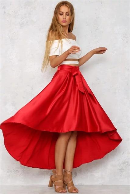 013048324 Faldas largas de satén con volantes y lazo Falda larga Casual negra suelta  para mujer falda