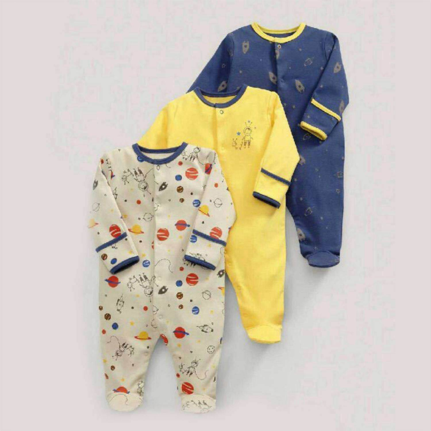Baby Spring and Autumn Planets Cotton Long Sleeve Baby One Piece Swimsuit 3 Piece Set 50cm(Beige & Yellow & Blue)Baby Spring and Autumn Planets Cotton Long Sleeve Baby One Piece Swimsuit 3 Piece Set 50cm(Beige & Yellow & Blue)