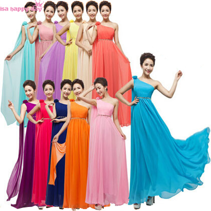 plus size maxi a-line floor-length one shoulder light yellow orange cameo chiffon   bridesmaid     dresses   corset back   dress   W1796