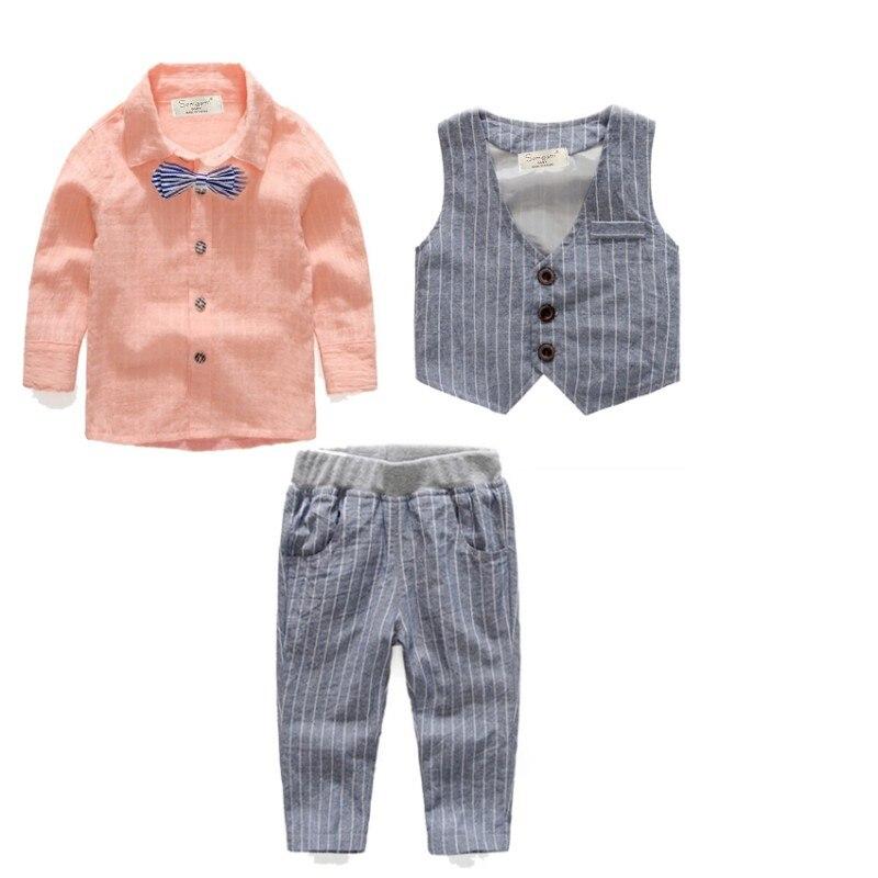 EMS DHL Free shipping wholesale! 5 sets/lot. Boys Casul suit Boy set 4 pc Stripe shirt Waistcoat Pants Bow tie Children suit dhl ems 5 sets new for om ron proximity switch e2a m18ks08 wp c1