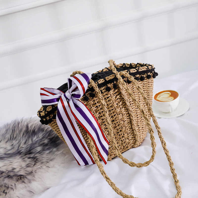 Female Straw Beach Bag Tote Bags For Women 2019 Summer Wicker Designer Handbags Ladies Rattan Scarf Shoulder Messenger Bag Sac A in Shoulder Bags from Luggage Bags