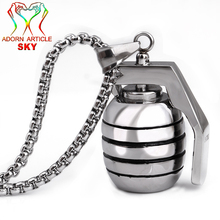 Men's Punk Silver Color Titanium Steel Kettles Pendant Military Tools Creative Modeling Necklace With A Friend Gift Jewelry