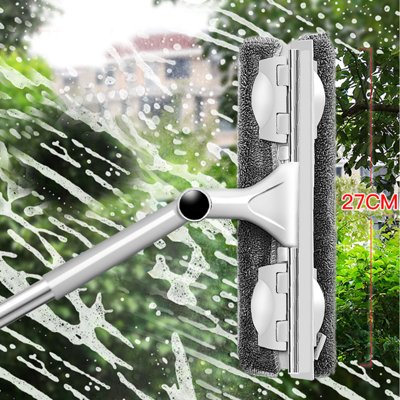 Glass Cleaning Tool Double-sided Telescopic Rod Window Cleaner Squeegee Wiper Long Handle Rotating Head Brush Silicone Scrubber