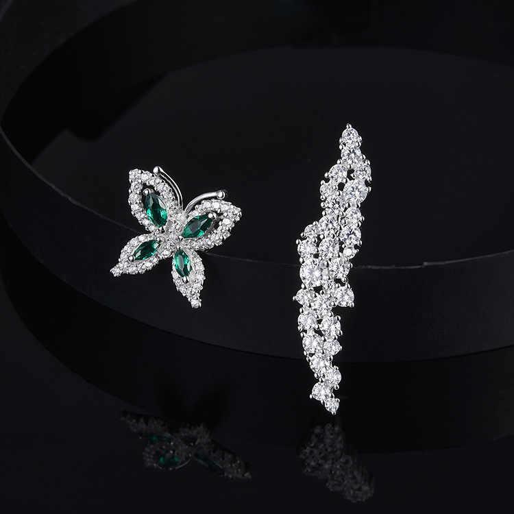 תוספות-APM מקורי אסימטרית 925 סטרלינג כסף ירוק יהלומי פרפר פרח צורת עגילי אופנה אוזן נייל תכשיטים
