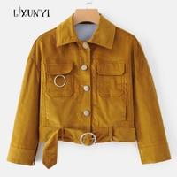 Autumn New European Street Short Corduroy Jacket Women Coats With Belt 2018 Females Yellow Orduroy Overcoats