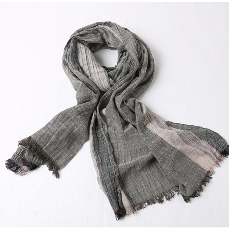 Men's Fashion New Cotton Linen British Style Scarf Men Casual Autumn Winter Retro Wrinkle Thin Color Matching Scarves W901