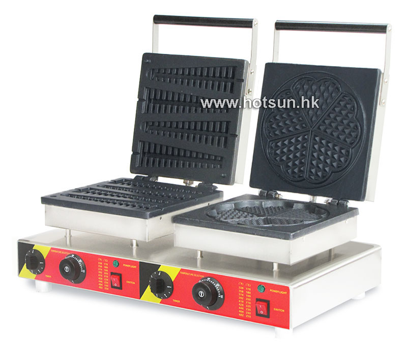 Free Shipping Commercial Non-stick 110V 220V Electric 2 in 1 Lolly Waffle + Heart Shaped Waffle Maker Iron Machine