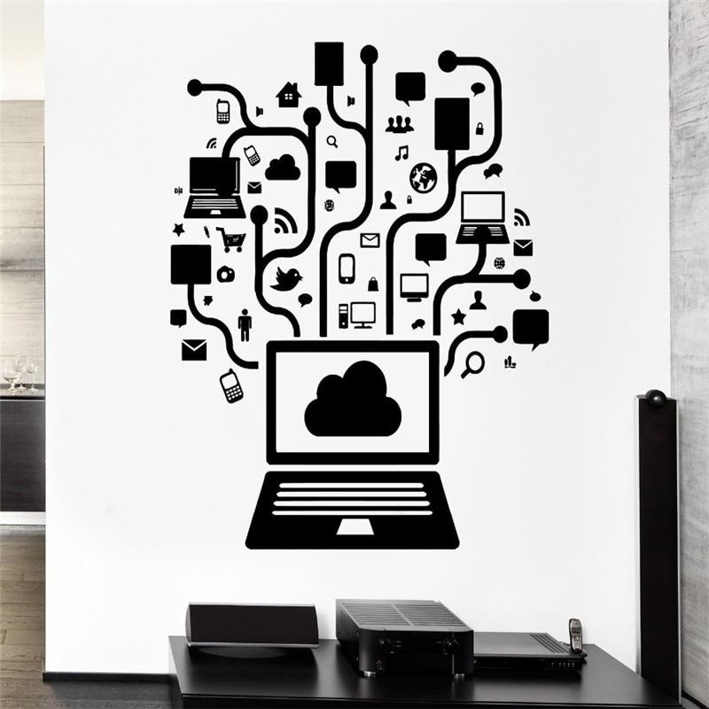 Computer Vinyl Wall Decal Computer Online Social Network Gamer Internet Teen PC Mural Wall Sticker Office Room Home Decoration