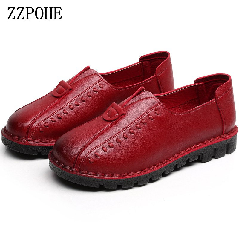 ZZPOHE Women Shoes 2017 Spring Autumn New Fashion Woman Genuine Leather Handmade Soft Comfortable Shoes Women Casual Flats Shoes 2017 new handmade women flats genuine leather oxfords shoes woman fashion ballets flats casual moccasins for women sapatos mujer