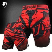 MMA guantes de Boxeo Rojos Lobo Tamaño de Impresión Suelta de Algodón Pantalones Cortos De Entrenamiento De Taekwondo Muay Thai Kick mma Shorts Barato Jomon Shorts VSZAP