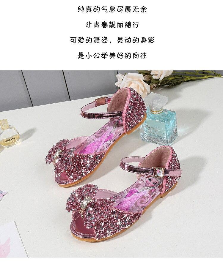crianças princesa sapatos bebê strass congelados elsa sandálias