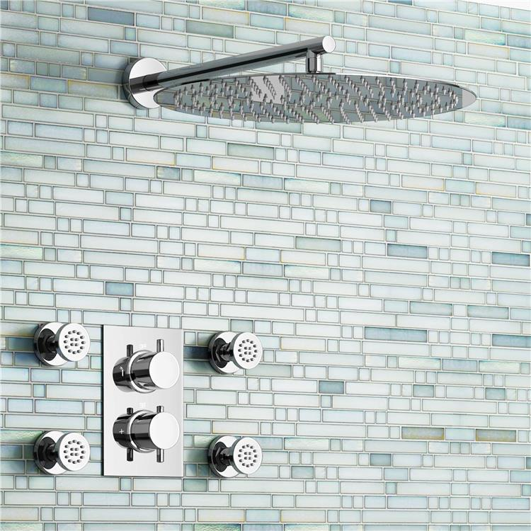 16 Round Mixer Thermostatic Shower Set Ultra Thin Head with Chrome Bathroom Massage Body Jets Thermostatic Faucets china sanitary ware chrome wall mount thermostatic water tap water saver thermostatic shower faucet