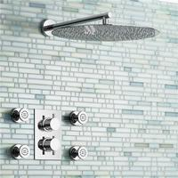 16 Round Mixer Thermostatic Shower Set Ultra Thin Head with Chrome Bathroom Massage Body Jets Thermostatic Faucets