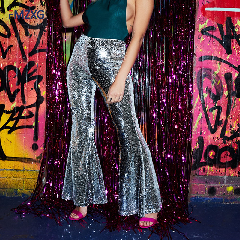 2018 Wide Leg Low Waist Women Party Sequins Pants Vintage Night Club Queen Bottom Slim Women Flare Pant Long Elegant Trousers