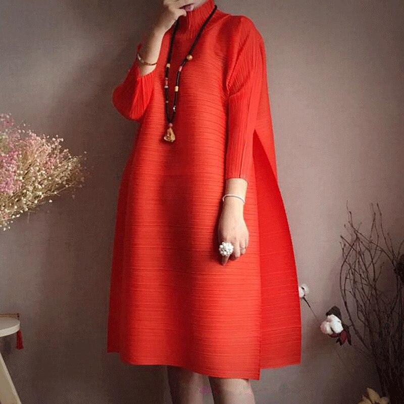 khaki Miyak De Gray 2018 Wine Femme Armygreen Taille Femmes Col Roulé Marée Design Genou Mode Plissé iron orange Changpleat Printemps Grande red Lâche Robe longueur Solide 4wz1SY