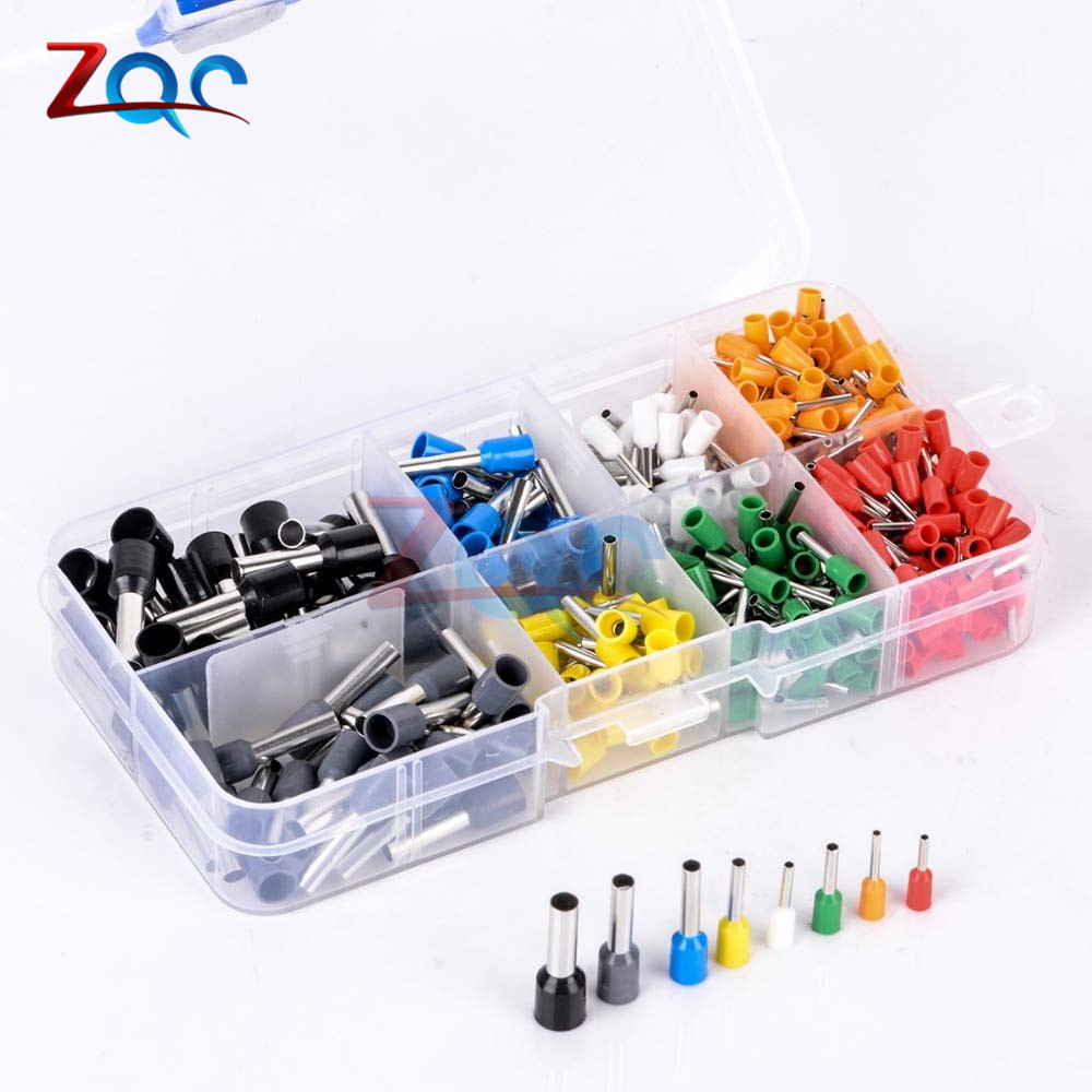 400pcs/set AWG 22-10 Insulated Cord Pin End Terminal Kit Set Wire Copper Tubular Crimp Connector E0508 E7508 <font><b>E1008</b></font> E1508 E2508 image