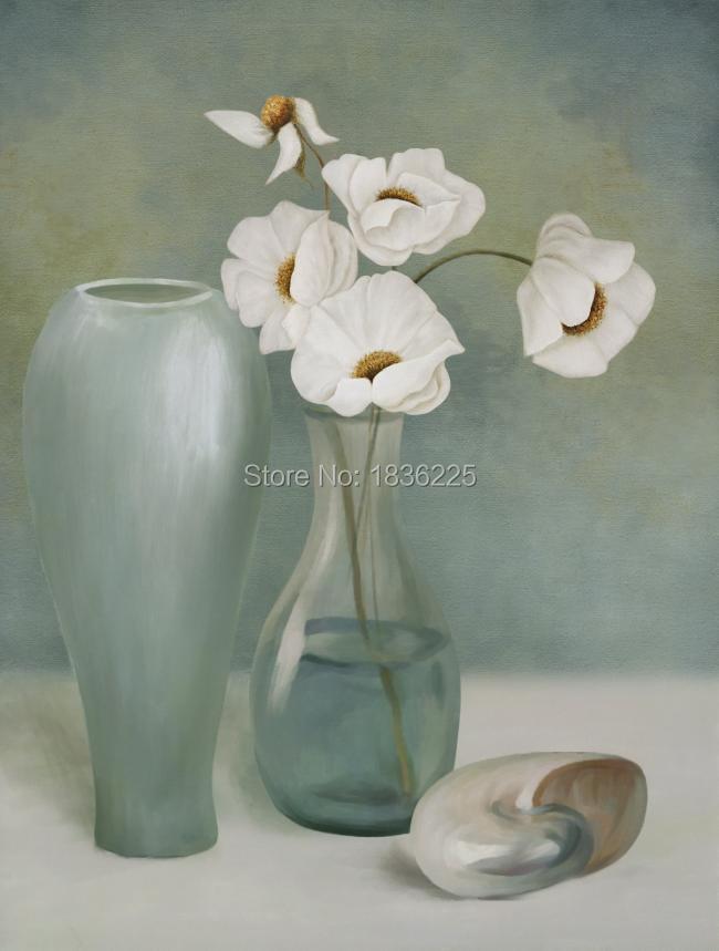 Chine importer des articles décor pour la maison fleur blanche conçoit tissu peinture moderne peintures abstraites toile peinture à l'huile pour la décoration
